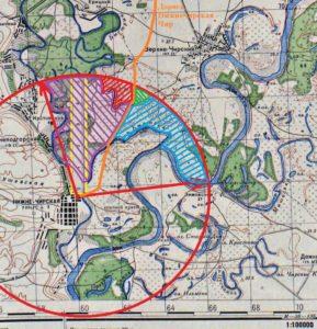 Зоны вероятного места расположения захоронения. Топографическая карта Генерального штаба Красной армии М 38-123 1941 года.